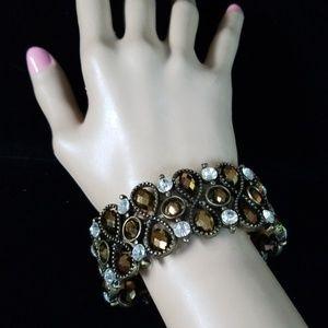 Vintage Beaded Rhinestone Stretch Bracelet OS